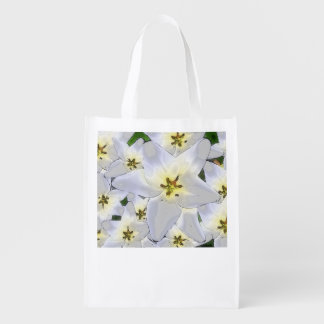 Shopping bag practically with flower sample - reusable grocery bag