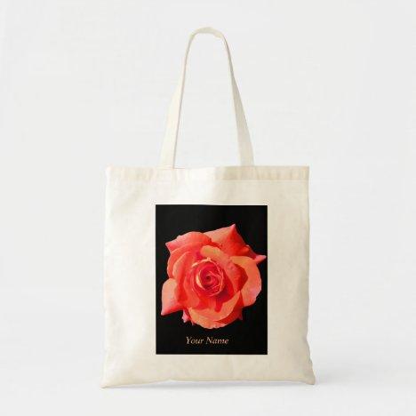 Shopping Bag, Pretty Peach Open Rose Tote Bag