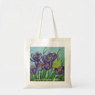 Shopping bag, purple crocuses, tote bag