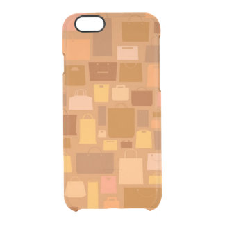 Shopping bags pattern, autumn colors clear iPhone 6/6S case