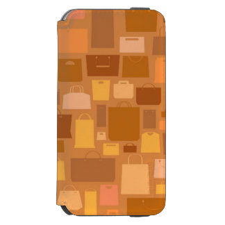Shopping bags pattern, autumn colors iPhone 6/6s wallet case