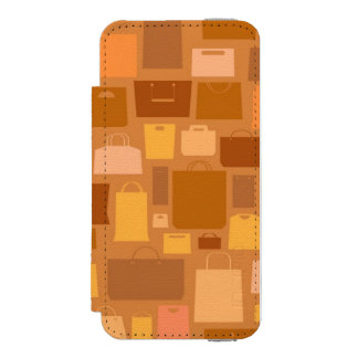 Shopping bags pattern, autumn colors iPhone SE/5/5s wallet case