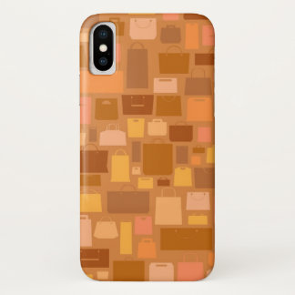Shopping bags pattern, autumn colors iPhone x case
