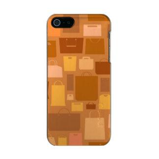 Shopping bags pattern, autumn colors metallic iPhone SE/5/5s case