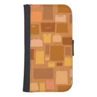 Shopping bags pattern, autumn colors galaxy s4 wallet case