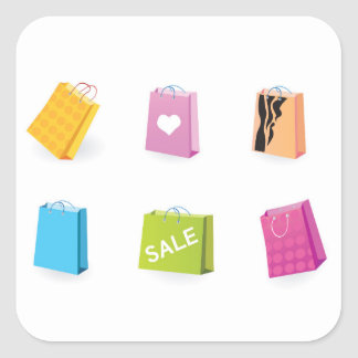 SHOPPING BAGS SQUARE STICKER