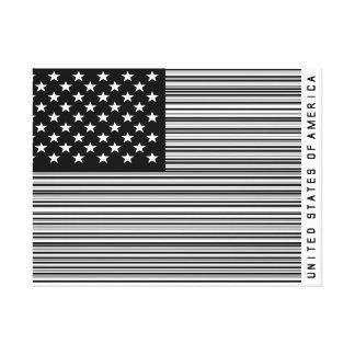 Shopping Bar Code US America Flag Canvas