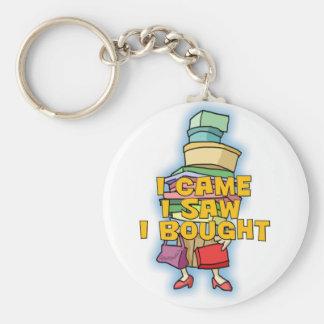 Shopping Basic Round Button Keychain