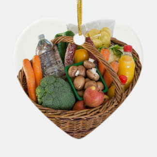 Shopping basket with foods fruits and vegetables ceramic ornament