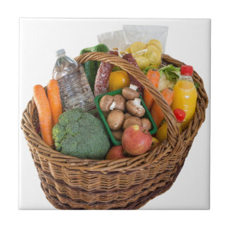 Shopping basket with foods fruits and vegetables ceramic tile