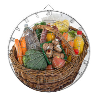 Shopping basket with foods fruits and vegetables dartboard with darts