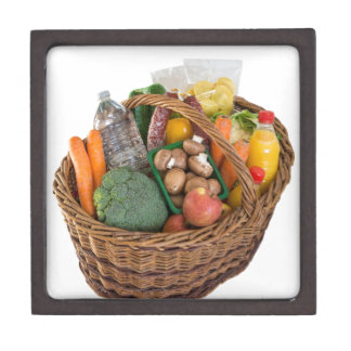 Shopping basket with foods fruits and vegetables jewelry box