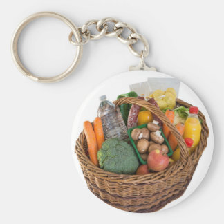 Shopping basket with foods fruits and vegetables keychain