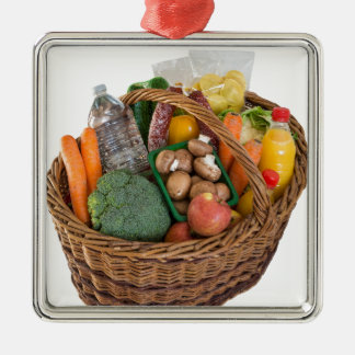 Shopping basket with foods fruits and vegetables metal ornament