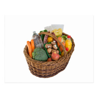 Shopping basket with foods fruits and vegetables postcard