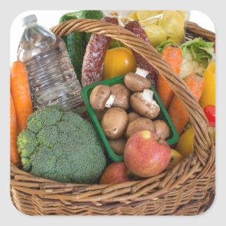 Shopping basket with foods fruits and vegetables square sticker