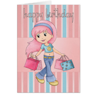 Shopping Birthday Card - Cute Female With Shopping