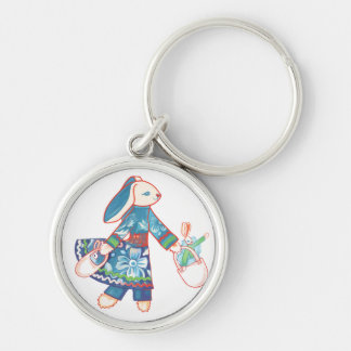 Shopping Bunny Silver-Colored Round Keychain