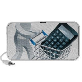 Shopping cart calculator person mini speakers