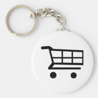Shopping Cart Basic Round Button Keychain