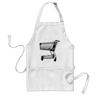 Shopping Cart Silhouette Adult Apron