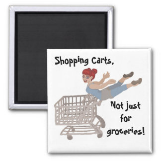 Shopping Carts 2 Inch Square Magnet