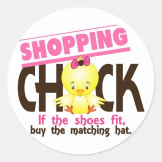 Shopping Chick 1 Classic Round Sticker