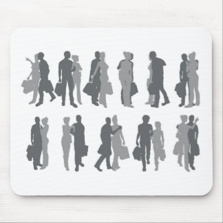 Shopping couple silhouettes mousemat