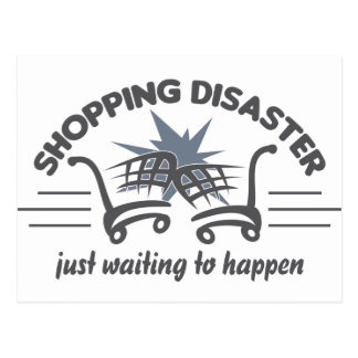 Shopping Disaster postcard, customize Postcard