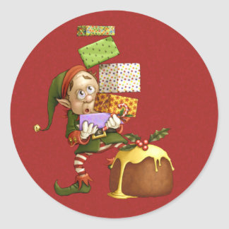 Shopping Elf Round Stickers