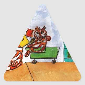 Shopping for School Supplies Triangle Sticker