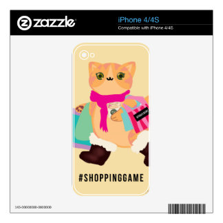 Shopping Game Basic Cat iPhone 4 Decal
