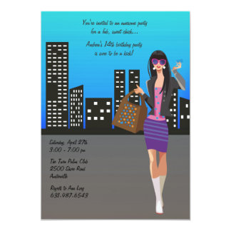 Shopping Girl Invitation