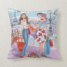 Shopping Girls In Paris | Cotton Throw Pillow ...