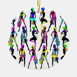 Shopping Glamour Girls Ceramic Ornament