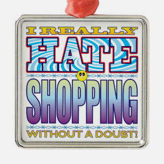 Shopping Hate Face Square Metal Christmas Ornament