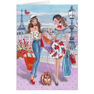 Shopping in Paris Girls   Birthday Card