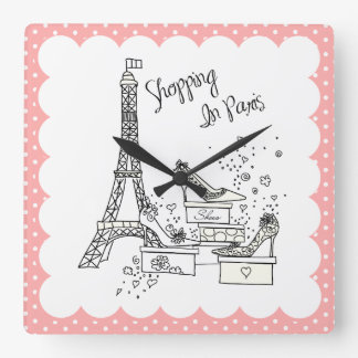 Shopping in Paris Wall Clock