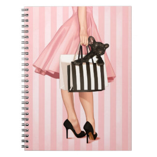 Shopping in the 50's spiral notebook