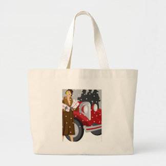 Shopping in the Snow Large Tote Bag