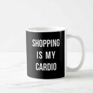 Shopping Is My Cardio on Black Coffee Mug
