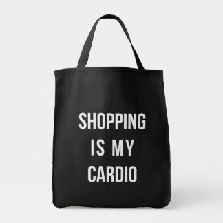 Shopping Is My Cardio on Black Tote Bag
