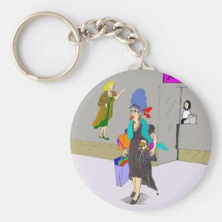 Shopping Lady Buying Things Basic Round Button Keychain