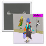 Shopping Lady Buying Things Pinback Buttons