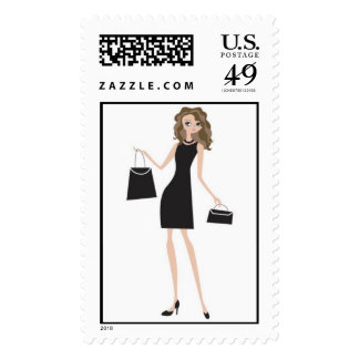 shopping lady stamp