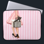 "Shopping Laptop Sleeve<br><div class=""desc"">Stylish lady shopping with french bulldog puppy on stripy pink background. Painted by artist Maryline Cazenave.</div>"