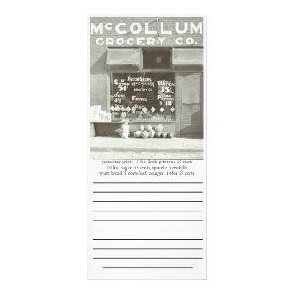 shopping list 1936 rack card