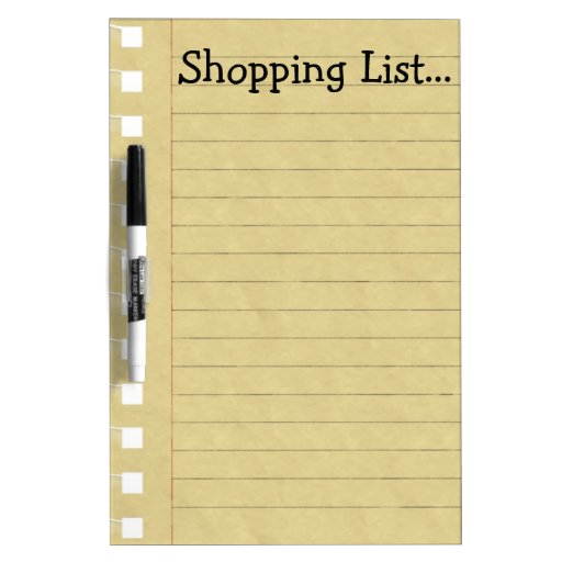 Shopping List Dry Erase White Board