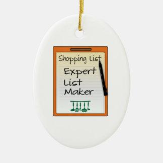Shopping List expert list maker Ceramic Ornament