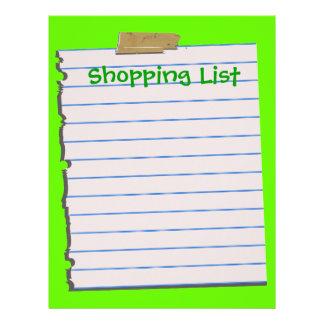 Shopping List Letterhead Stationery